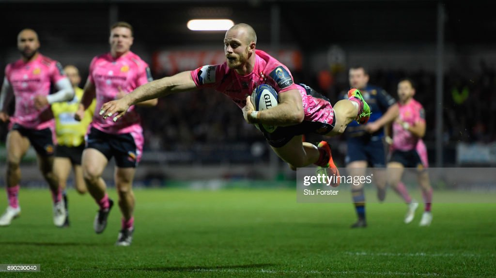 Chiefs wing James Short dives over to score during the European Rugby Champions Cup match between Exeter Chiefs and Leinster Rugby at Sandy Park on December 10, 2017 in Exeter, England.