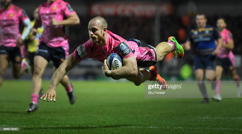 Chiefs wing Olly Woodburn dives over to score during the European Rugby Champions Cup match between Exeter Chiefs and Leinster Rugby at Sandy Park on December 10, 2017 in Exeter, England.
