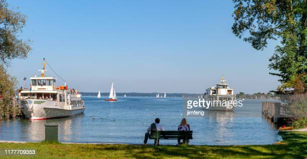 chiemsee lake ferry ship docked in bavaria, germany - passenger craft stock pictures, royalty-free photos & images