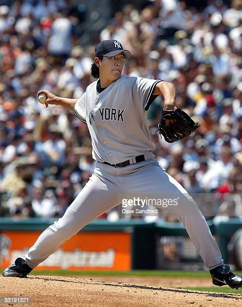 ChienMing Wang of the New York Yankees pitches against the Detroit Tigers on July 3 2005 at Comerica Park in Detroit Michigan The Yankees defeated...