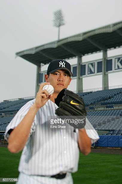 ChienMing Wang of the New York Yankees poses for a portrait during Yankees Photo Day at Legends Field on February 25 2005 in Tampa Florida