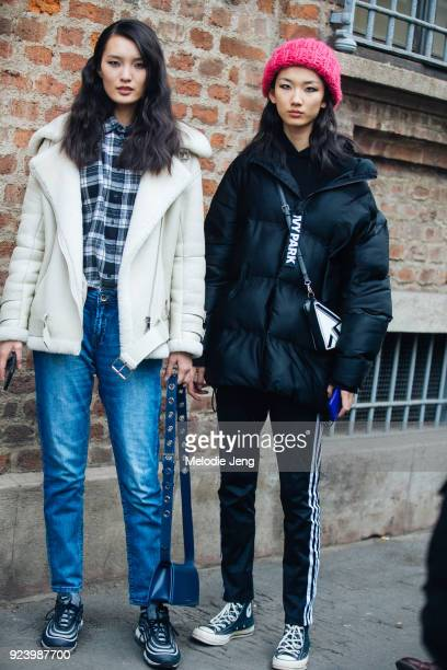 Chiense models Chunjie Liu Liang Xiangqing after Ermanno Scervino during Milan Fashion Week Fall/Winter 2018/19 on February 24 2018 in Milan Italy