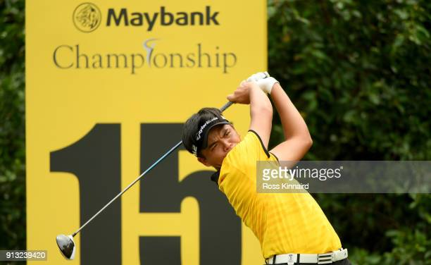 Chienyao Hung of Taiwan in action during the second round of the Maybank Championship Malaysia at Saujana Golf and Country Club on February 2 2018 in...