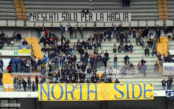Chievo Verona fans during the Serie A match between Chievo Verona and SSC Napoli at Stadio Marc'Antonio Bentegodi on April 14, 2019 in Verona, Italy.