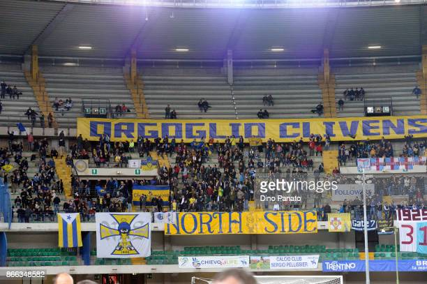 Chievo Verona fans shows their support during the Serie A match between AC Chievo Verona and AC Milan at Stadio Marc'Antonio Bentegodi on October 25...