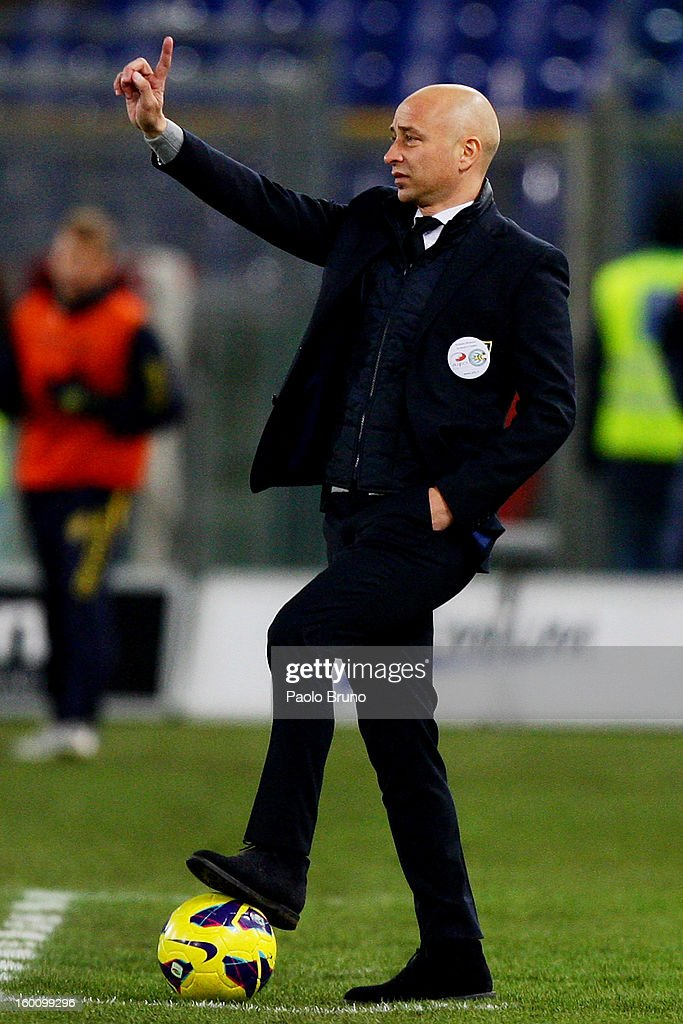 AC Chievo Verona head coach Eugenio Corini gestures during the Serie A match between S.S. Lazio and AC Chievo Verona at Stadio Olimpico on January 26, 2013 in Rome, Italy.