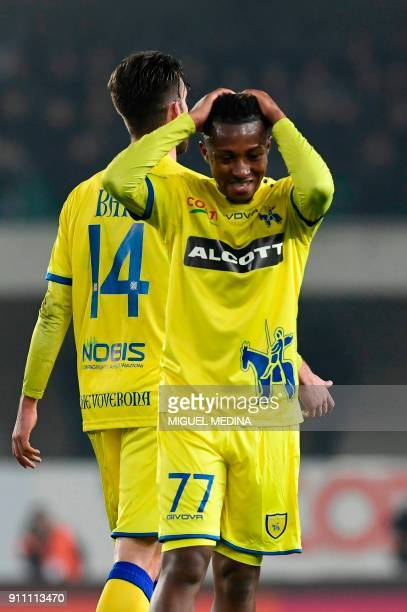Chievo's Belgium midfielder Samuel Bastien reacts after receiving a red card during the Italian Serie A football match AC Chievo vs Juventus at the...