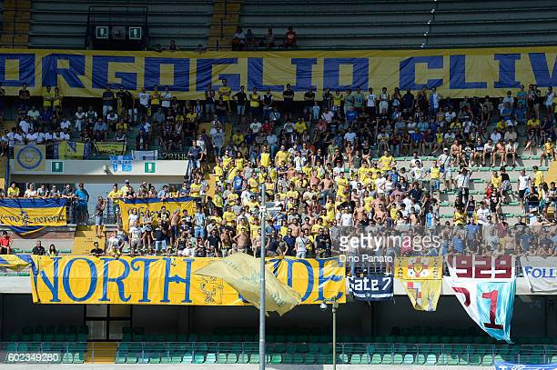 ChievoVerona fans shows their support during the Serie A match between AC ChievoVerona and SS Lazio at Stadio Marc'Antonio Bentegodi on September 11...