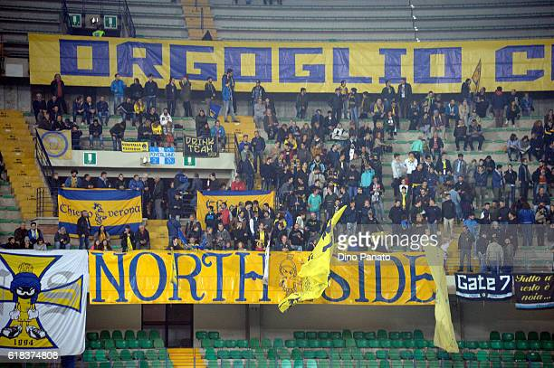 ChievoVerona fans shows their support during the Serie A match between AC ChievoVerona and Bologna FC at Stadio Marc'Antonio Bentegodi on October 26...