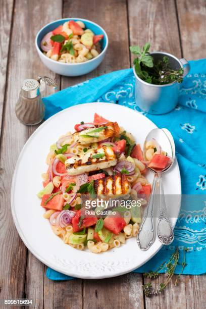 Chifferi salad with watermelon, cucumber, mint and grilled halloumi