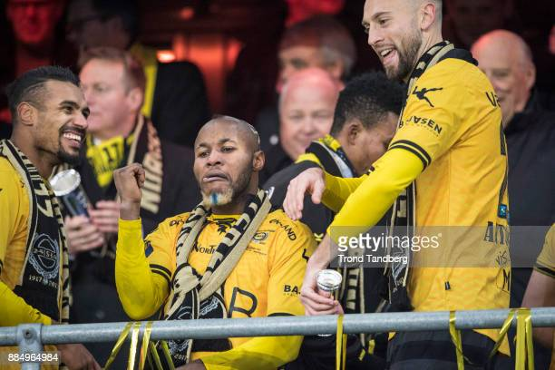 Chigozie Udoji of Lillestrom celebrates with Trophy after victory between Sarpsborg 08 v Lillestrom at Ullevaal Stadion on December 3 2017 in Oslo...