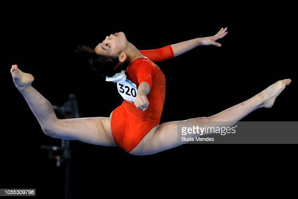 Chiharu Yamada of Japan competes in Women's Floor Exercise Final during day 9 of Buenos Aires Youth Olympic Games at Youth Olympic Park on October 15...