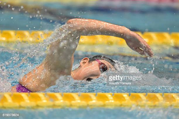 Chihiro Igarashi of Japan competes in the Women's 200m Freestyle final during the Japan Swim 2016 at Tokyo Tatsumi International Swimming Pool on...