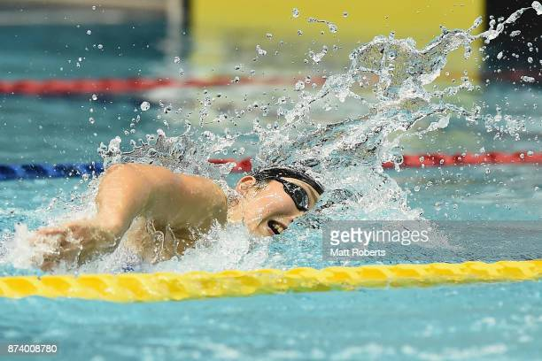 Chihiro Igarashi of Japan competes in the Women's 200m Freestyle final during day one of the FINA Swimming World Cup at Tokyo Tatsumi International...