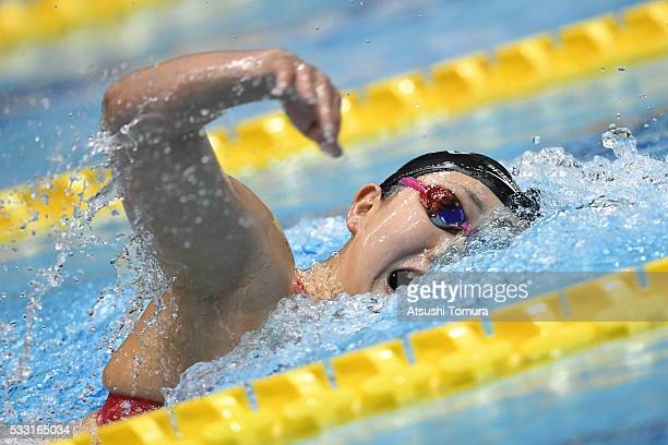 Chihiro Igarashi of Japan competes in the Women's 400m freestyle final during the Japan Open 2016 at Tokyo Tatsumi International Swimming Pool on May...