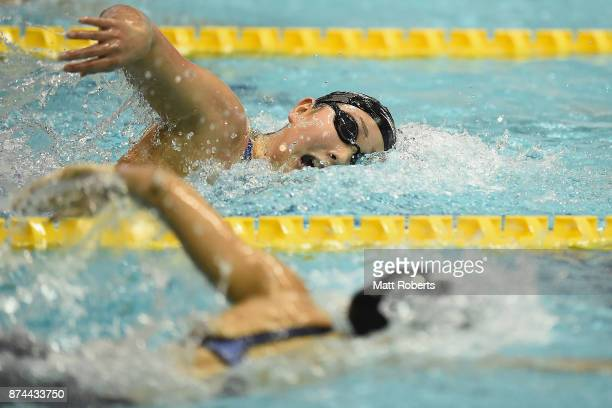 Chihiro Igarashi of Japan competes in the Women's 400m Freestyle Final during day two of the FINA Swimming World Cup at Tokyo Tatsumi International...