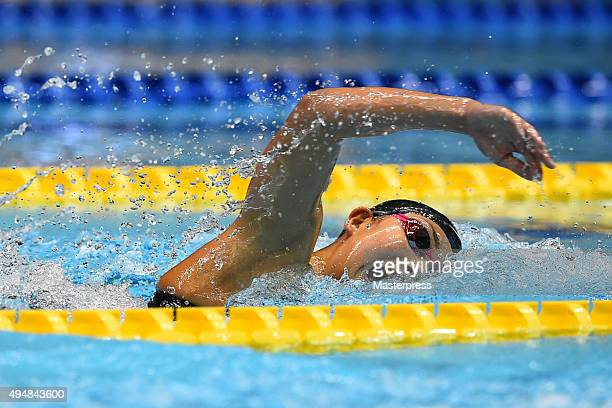 Chihiro Igarashi of Japan competes in Women's 400m Freestyle final during the FINA Swimming World Cup 2015 at Tokyo Tatsumi International Swimming...