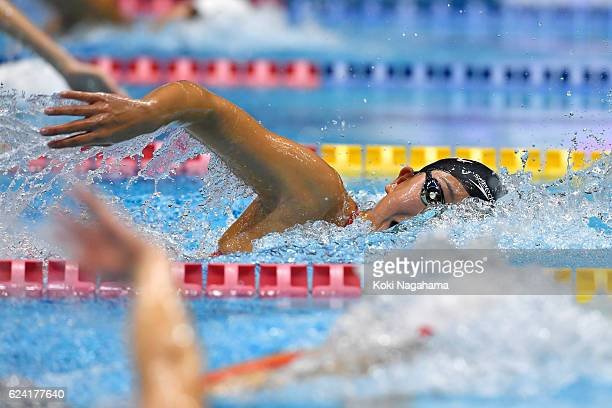 Chihiro Igarashi of Japan conpetes in Women's 200m Freestyle final race during the 10th Asian Swimming Championships 2016 at the Tokyo Tatsumi...