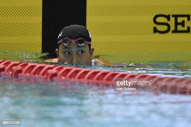 Chihiro igarashi of Japan reacts in 200m Freestyle Final during the Japan Open 2017 at Tokyo Tatsumi International Swimming Pool on May 19 2017 in...