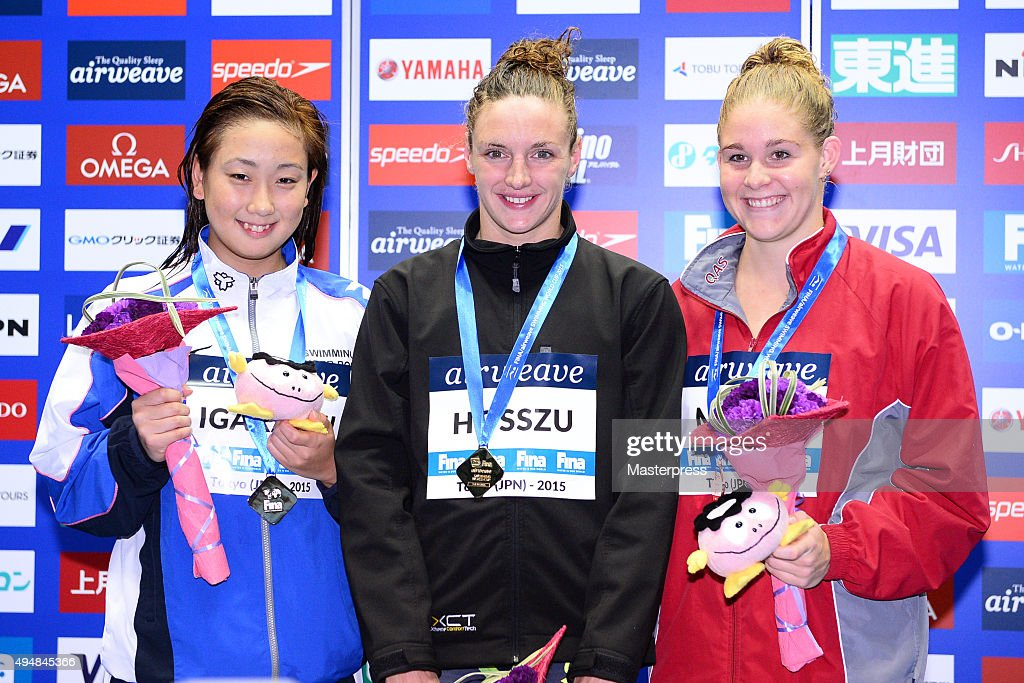 Chihiro Igarashi of Japan(Silver),Katinka Hosszu of Hungary(Gold) and Leah Neale of Australia(Bronze) pose on the podium after the Women's 400m Freestyle final during the FINA Swimming World Cup 2015 at Tokyo Tatsumi International Swimming Pool on October 29, 2015 in Tokyo, Japan.