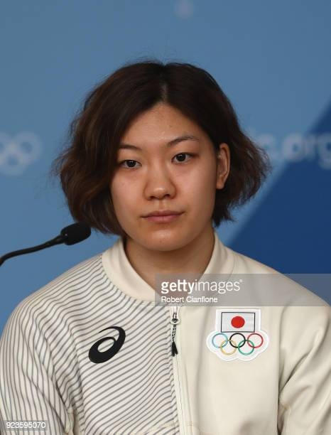Chiho Osawa of Japan Women's Ice Hockey team speaks to the media during a press conference on day 15 of the PyeongChang 2018 Winter Olympic Games on...