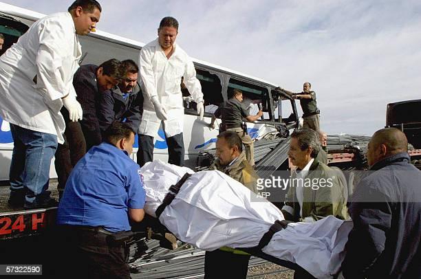 Personal forenese recupera uno de los 10 cadaveres del interior de un autobus de pasajeros quer chocara contra un camion que transportaba varilla en...