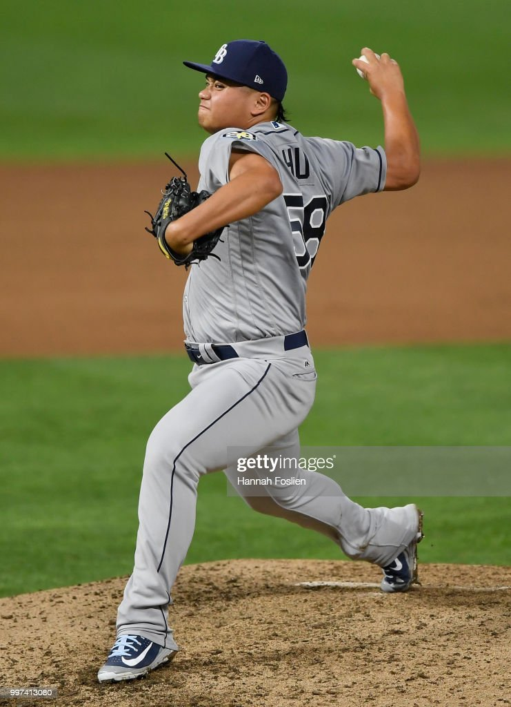 Chih-Wei Hu #58 of the Tampa Bay Rays delivers a pitch against the Minnesota Twins during the seventh inning of the game on July 12, 2018 at Target Field in Minneapolis, Minnesota. The Twins defeated the Rays 5-1.