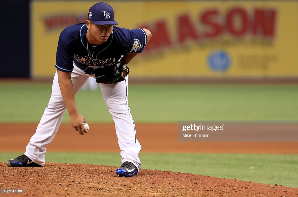 Chih-Wei Hu #58 of the Tampa Bay Rays pitches in the eighth inning during a game against the Texas Rangers at Tropicana Field on April 16, 2018 in St Petersburg, Florida.