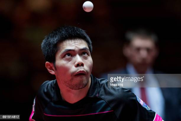 ChihYuan Chuang of Taiwan serves during Men's eightfinals at Table Tennis World Championship at Messe Duesseldorf on June 3 2017 in Dusseldorf Germany