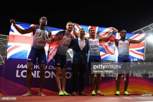 Chijindu Ujah Adam Gemili Daniel Talbot and Nethaneel MitchellBlake of Great Britain celebrate with the mayor of London Sadiq Khan after winning gold...