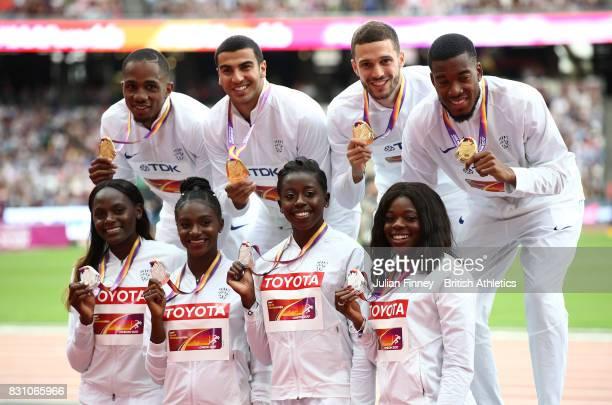 Chijindu Ujah Adam Gemili Daniel Talbot and Nethaneel MitchellBlake of Great Britain gold in the Men's 4x100 Metres Relay pose with Asha Philip...