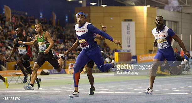 Chijindu Ujah crosses the line to win the mens 60 metres heats during the Sainsbury's British Athletics Indoor Championships at English Institute of...