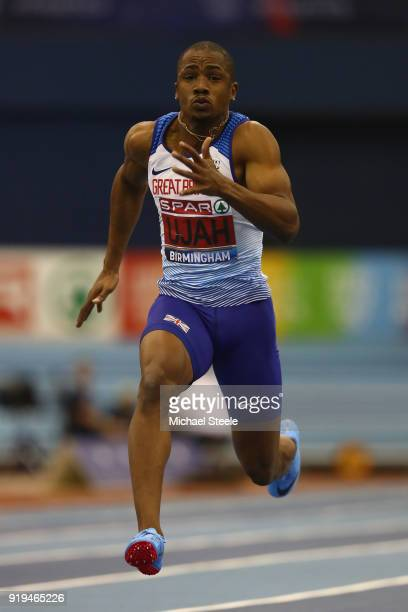 Chijindu Ujah of Enfield and Haringey Harriers during the men's 60m semi final during day one of the SPAR British Athletics Indoor Championships at...