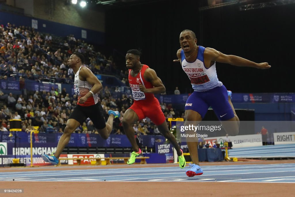 Chijindu Ujah (R) of Enfield and Haringey Harriers wins the men's 60m final during day one of the SPAR British Athletics Indoor Championships at Arena Birmingham on February 17, 2018 in Birmingham, England.