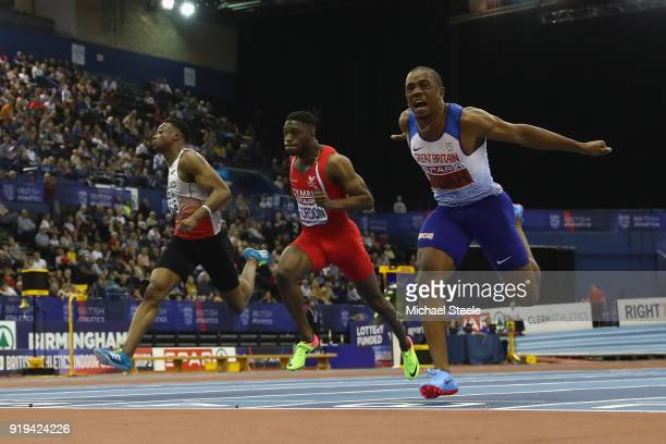 Chijindu Ujah of Enfield and Haringey Harriers wins the men's 60m final during day one of the SPAR British Athletics Indoor Championships at Arena...