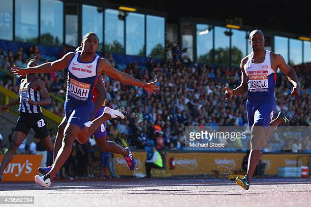 Chijindu Ujah of Enfield Haringey Harriers wins the Men's 100m Final from James Dasaolu of Croydon during day three of the Sainsbury's British...