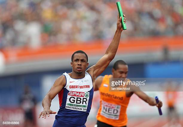 Chijindu Ujah of Great Britain celebrates after winning goal in the final of the mens 4x100m relay on day five of The 23rd European Athletics...