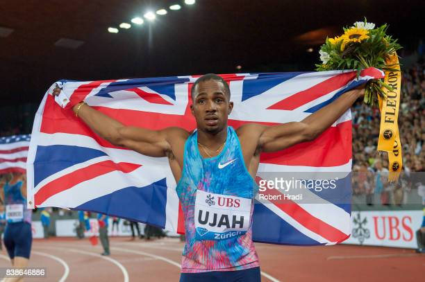 Chijindu Ujah of Great Britain celebrates his win during the Diamond League Athletics meeting 'Weltklasse' on August 24 2017 at the Letziground...