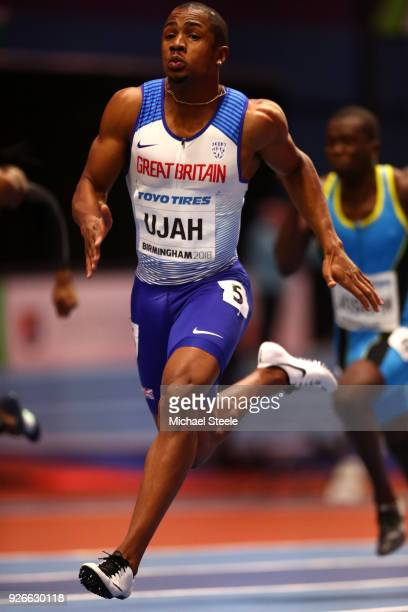 Chijindu Ujah of Great Britain competes in the 60 Metres Men Round 1 Heat 5 during the IAAF World Indoor Championships on Day Three at Arena...