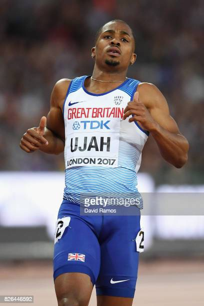 Chijindu Ujah of Great Britain competes in the Men's 100 metres heats during day one of the 16th IAAF World Athletics Championships London 2017 at...