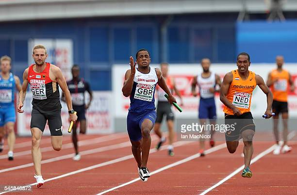 Chijindu Ujah of Great Britain in action during the final of the mens 4x100m relay on day five of The 23rd European Athletics Championships at...
