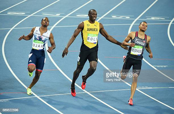 Chijindu Ujah of Great Britain Usain Bolt of Jamaica and Andre De Grasse of Canada compete in the Men's 100 meter semifinal on Day 9 of the Rio 2016...