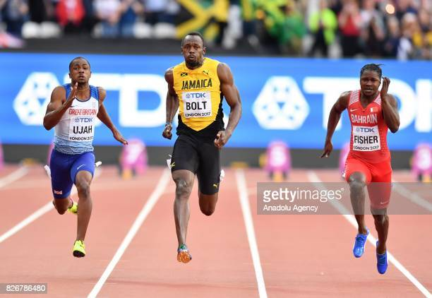 Chijindu Ujah of Great Britain Usain Bolt of Jamaica and Andrew Fisher of Bahrain compete in the men's 100 meters semi final during the 'IAAF...