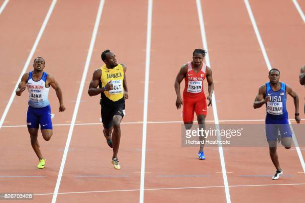 Chijindu Ujah of Great Britain Usain Bolt of Jamaica Andrew Fisher of Bahrain and Christian Coleman of the United States competes in the Men's 100...
