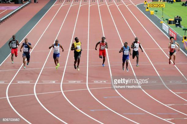 Chijindu Ujah of Great Britain Usain Bolt of Jamaica Andrew Fisher of Bahrain Christian Coleman of the United States and Amre Zafer Barnes of Turkey...