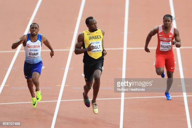Chijindu Ujah of Great Britain Usain Bolt of Jamaica Andrew Fisher of Bahrain competes in the Men's 100 metres semifinals during day two of the 16th...