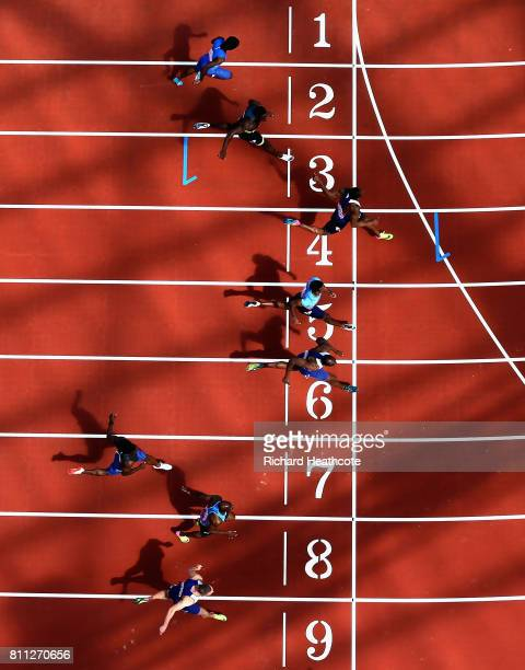 Chijindu Ujah of Great Britain wins the Mens 100m during the Muller Anniversary Games at London Stadium on July 9 2017 in London England