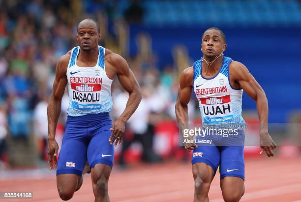 Chijindu Ujah of Great Britain wins the Mens 100m race from James Dasaolu of Great Britain during the Muller Grand Prix Birmingham meeting at...