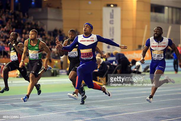 Chijindu Ujah of Great Britain wins the mens 60m during day one of the Sainsbury's British Athletics Indoor Championships at the English Institute of...