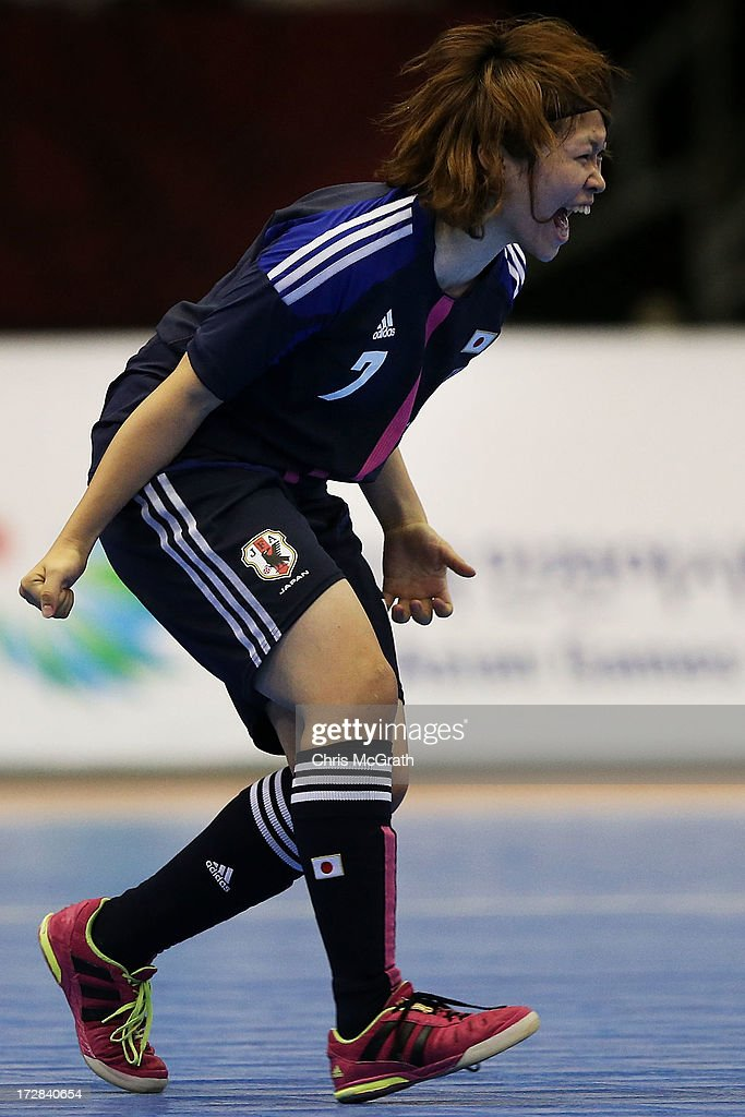 Chikage Kichibayashi #7 of Japan celebrates scoring a goal against Iran during the Women's Futsal Gold Medal match at Songdo Global University Campus Gymnasium during day seven of the 4th Asian Indoor & Martial Arts Games on July 5, 2013 in Incheon, South Korea.